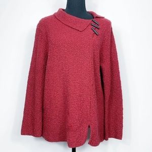Willow Side Toggle Collar Textured Sweater Size M